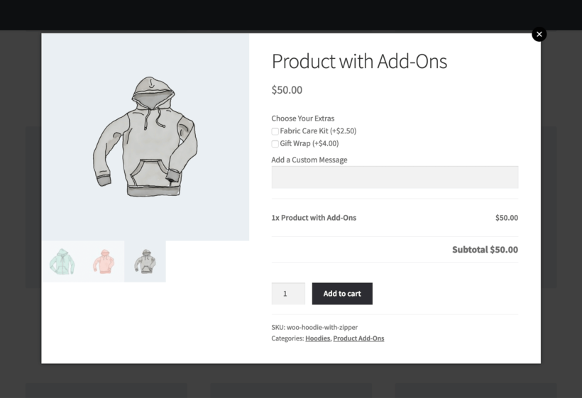 WooCommerce Quick View Plugin Product Add-Ons
