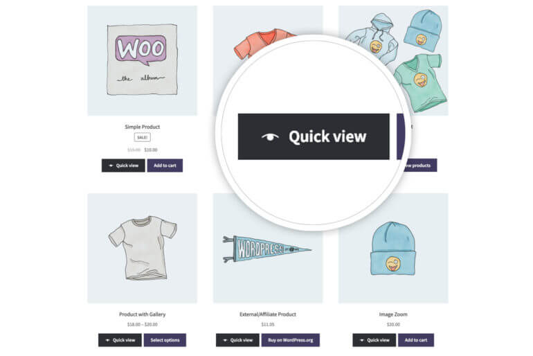 WooCommerce Quick View Pro on shop page with zoom