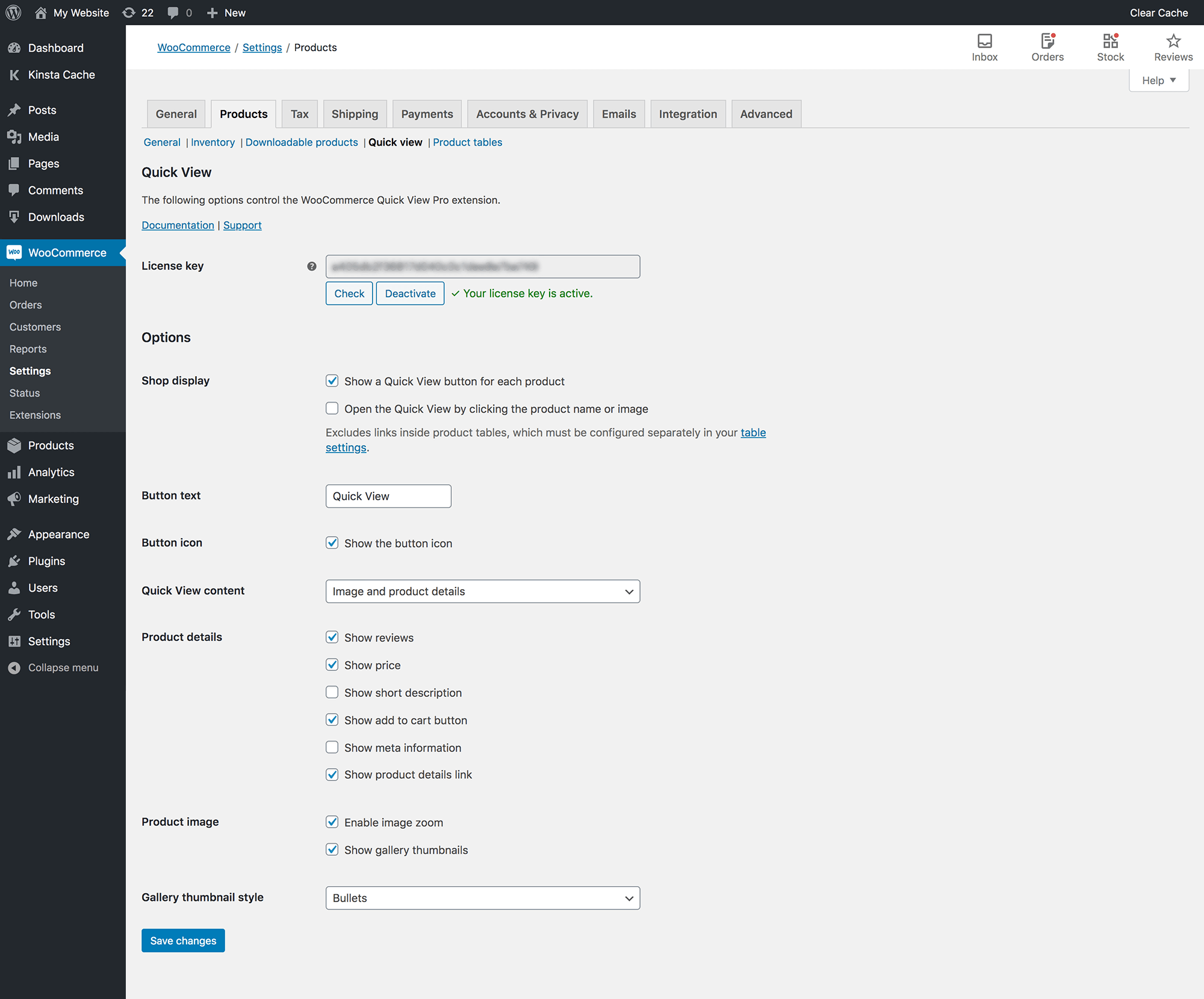 WooCommerce Quick View Pro plugin settings page