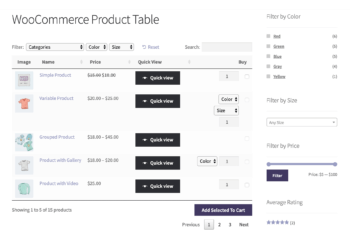 WooCommerce Quick View Plugin with Product Table