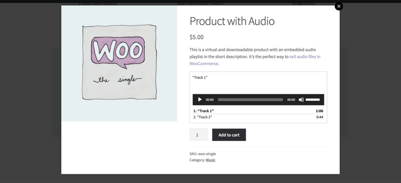 WooCommerce Quick View audio plugin