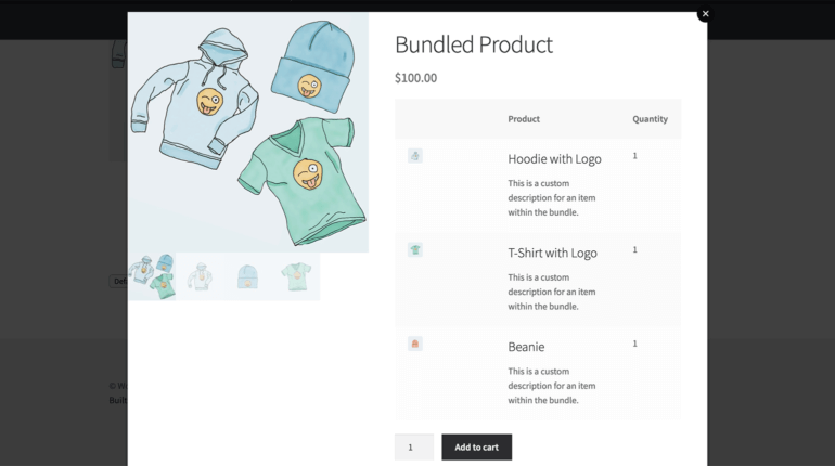WooCommerce lightbox plugin bundled products