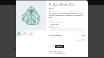 WooCommerce quick view with Product Add-Ons