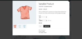 WooCommerce quick view with variation options