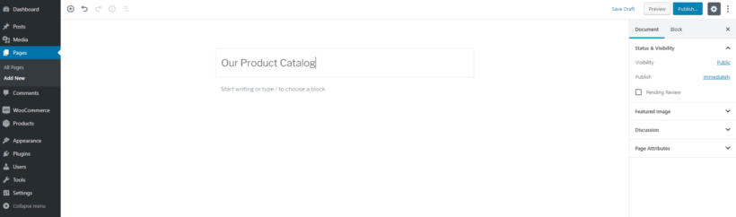 Create a new page for the WordPress product catalog