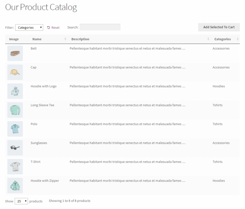 WordPress product catalog created using WooCommerce Product Table without add to cart buttons