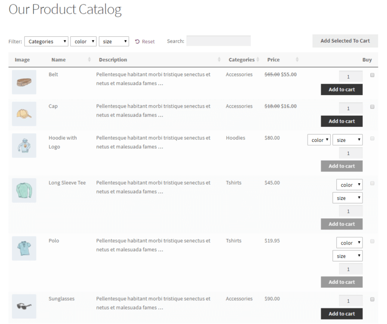 WordPress product catalog created using WooCommerce Product Table with add to cart buttons