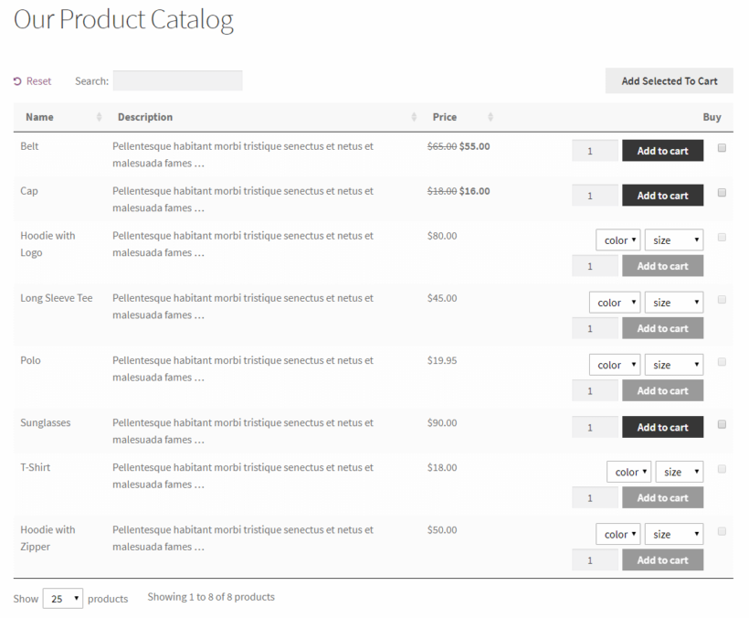 Preview of the WooCommerce Product Table plugin on the front-end