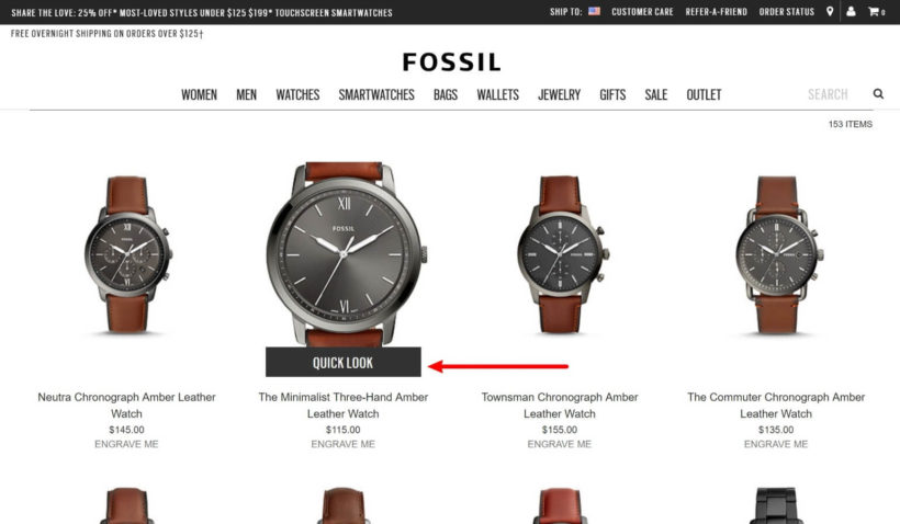 Example of product quick view at Fossil