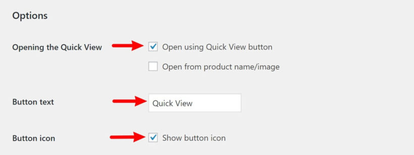 Configure quick view button