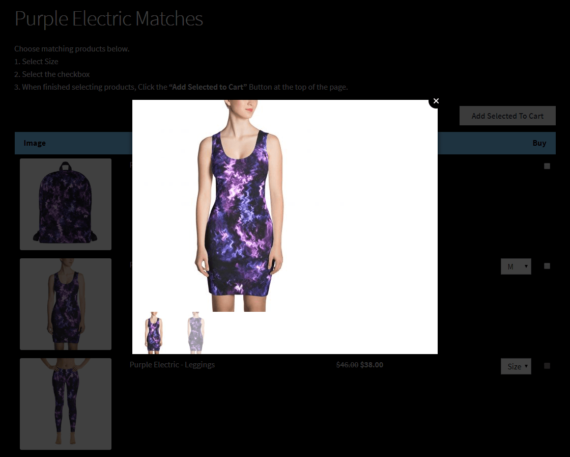 Product gallery displayed in lightbox view using WooCommerce Quick View Pro and WooCommerce Product Table