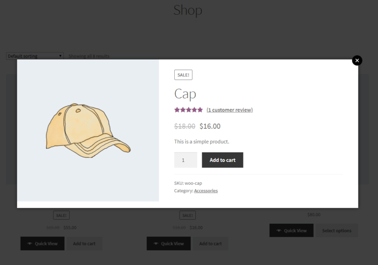 WooCommerce Quick View Pro default lightbox view