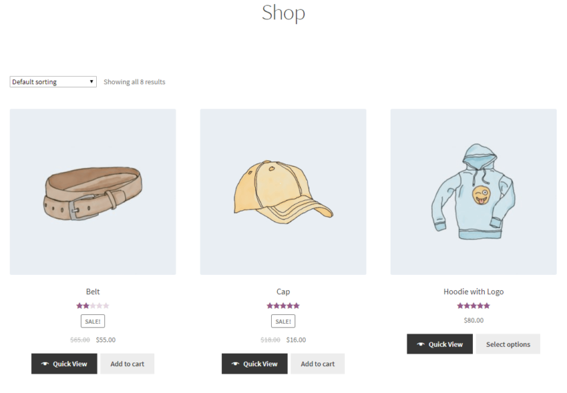 Main shop page in WooCommerce with Quick View links