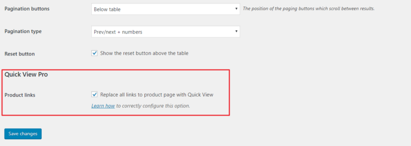 Quick View Pro setting in WooCommerce Product Table's settings