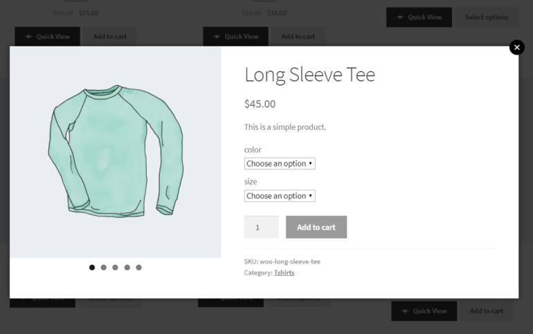 Displaying product gallery with bullet navigation in lightbox