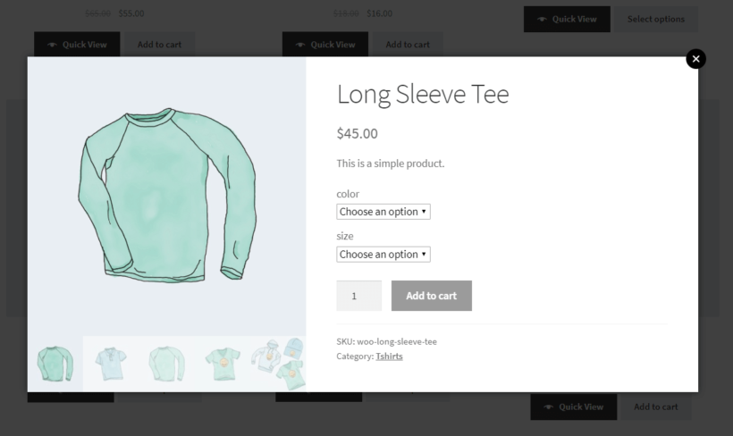 Displaying product gallery as thumbnails in lightbox
