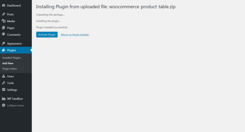 Activating the WooCommerce Product Table plugin.