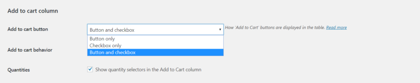 The Add to Cart settings.