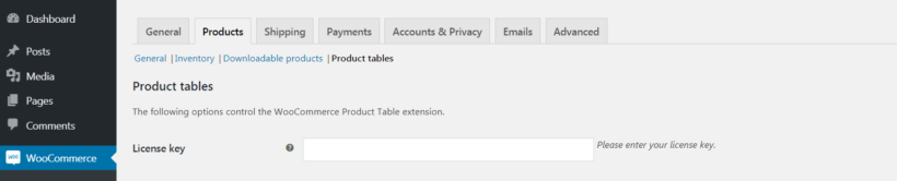 The WooCommerce Product Table settings page.