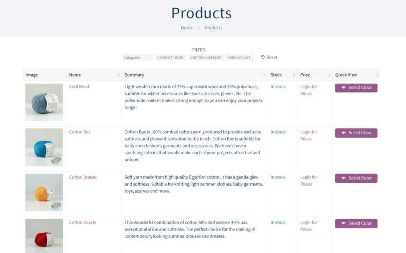 The Yarn Gate product database.