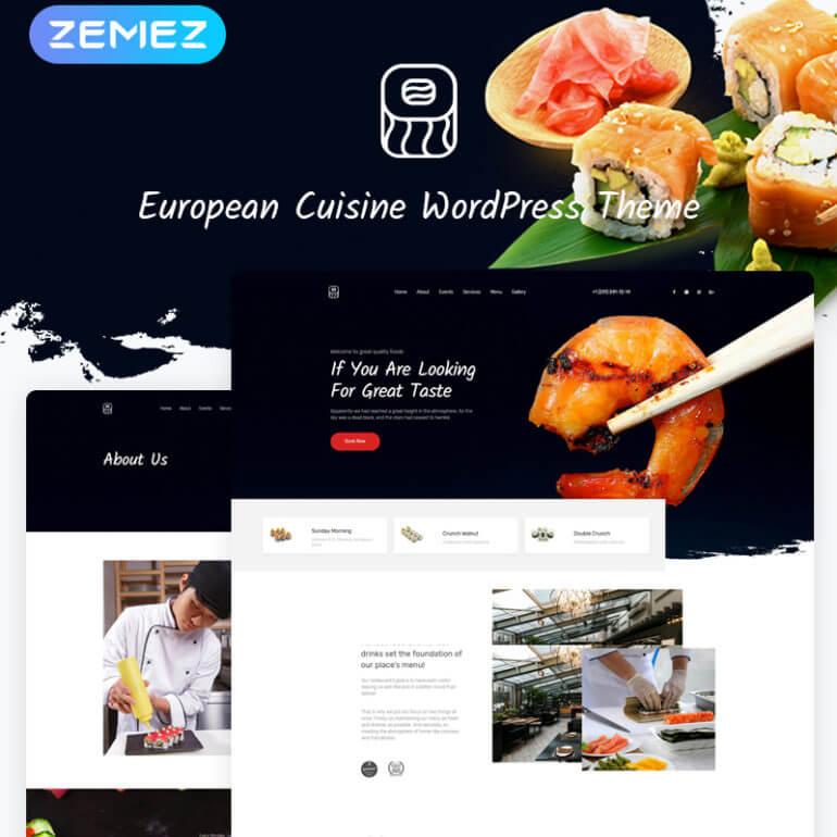 Sushi WordPress restaurant theme