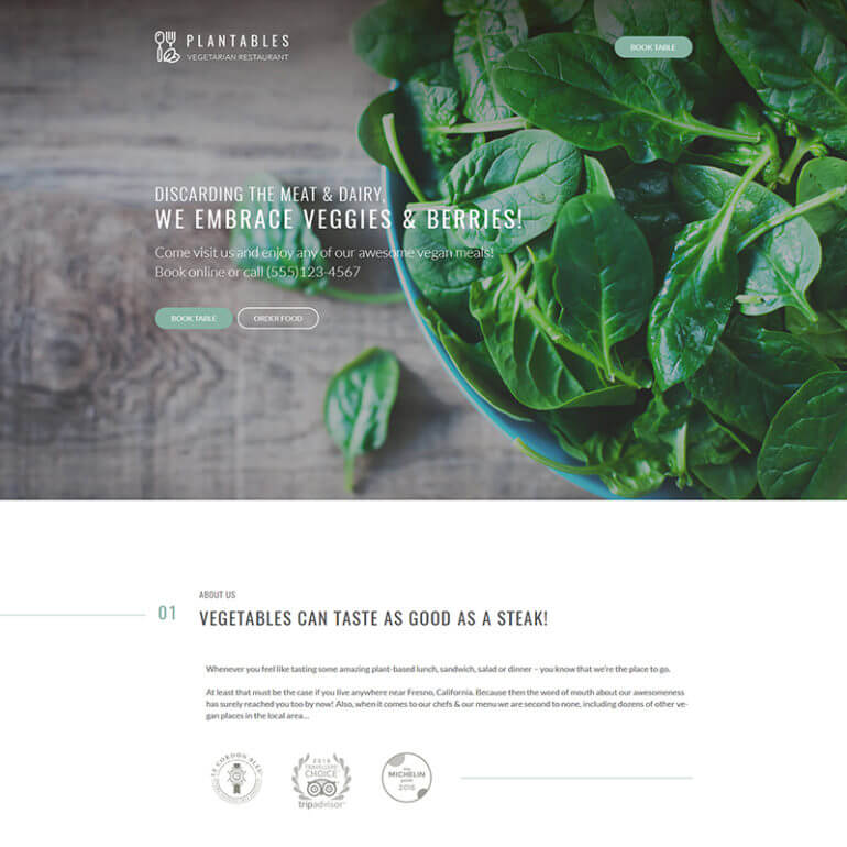 WordPress vegetarian restaurant theme