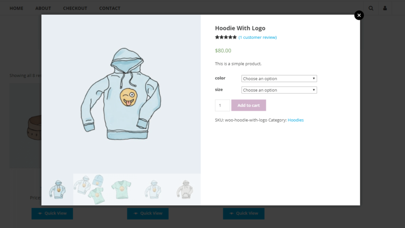 Default WooCommerce product lightbox view