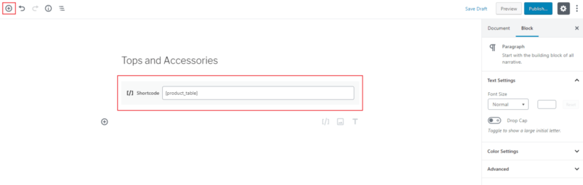 Adding WooCommerce Product Table shortcode in the Gutenberg editor