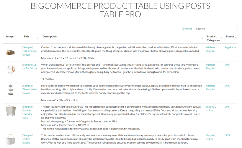 BigCommerce product table preview