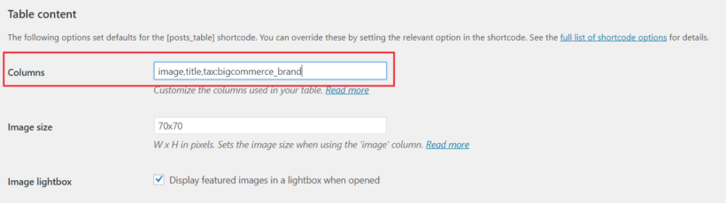 Displaying basic columns in BigCommerce product table