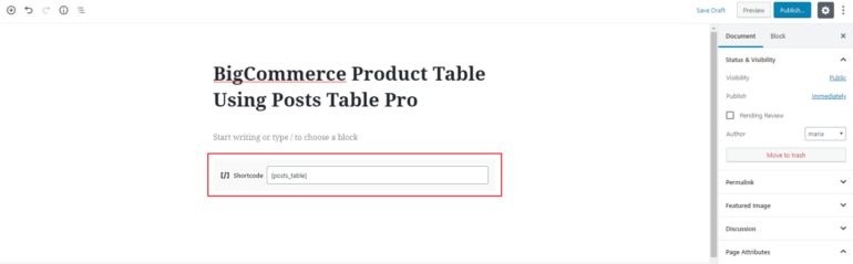 Adding Posts Table Pro shortcode to Gutenberg text editor