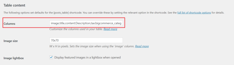 Displaying many columns in BigCommerce product table