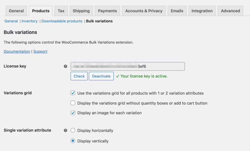 WooCommerce Bulk Variations license key