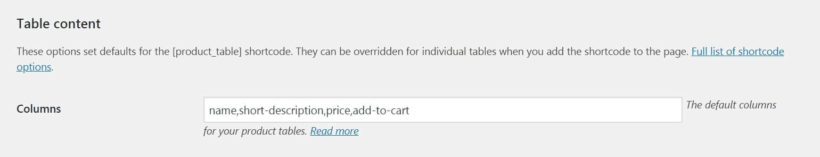 The WooCommerce Product Table column settings.