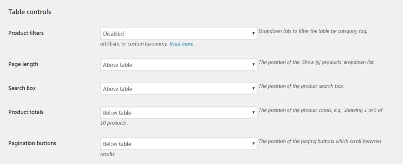 The WooCommerce Product Table table controls settings.