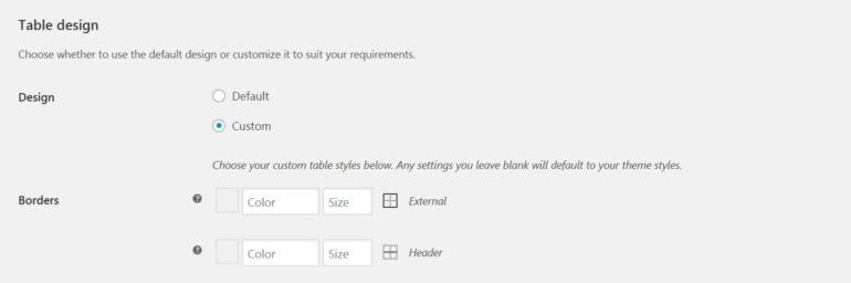 The WooCommerce Product Table design settings.