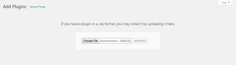 Uploading the WooCommerce Product Table plugin.