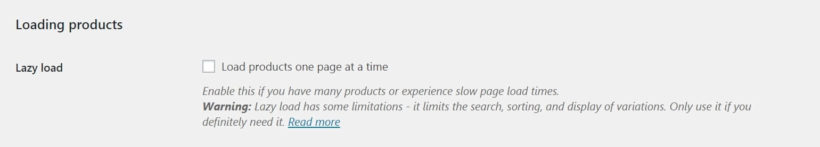 The WooCommerce Product Table lazy load settings.