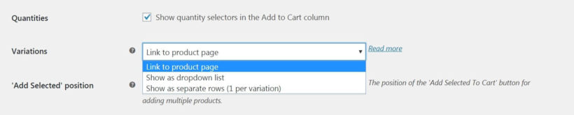 The WooCommerce Product Table variations and quantities settings.