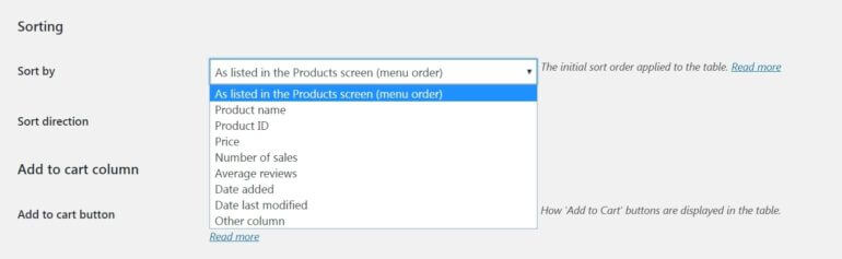 The WooCommerce Product Table sorting settings.