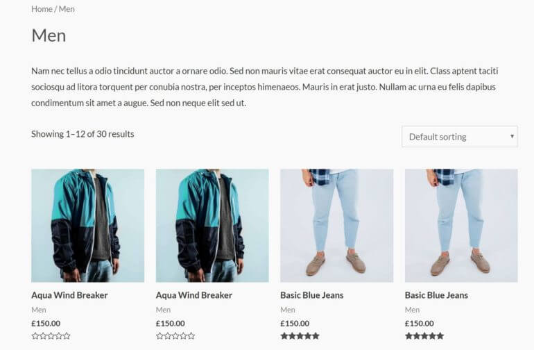"""The """"traditional"""" shop page layout"""