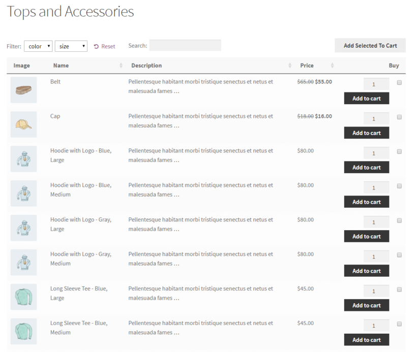 WooCommerce Product Table with variations displayed on separate rows