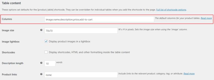 WooCommerce Product Table settings columns option