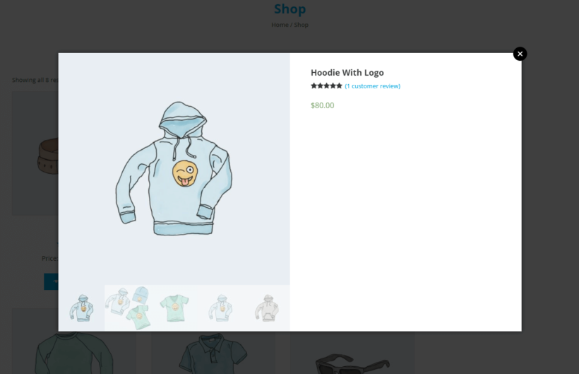 WooCommerce product lightbox displaying images, reviews, and price