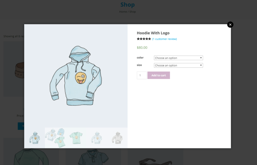 WooCommerce product lightbox displaying images, reviews, price, and add to cart