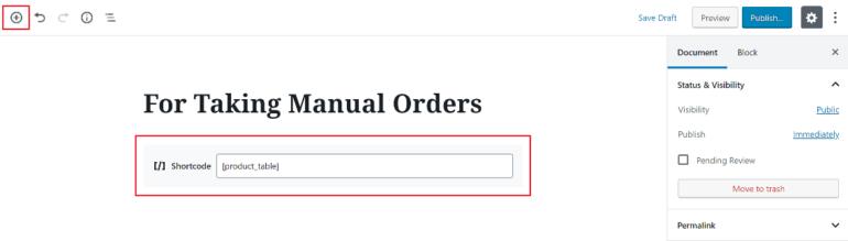 Adding shortcode to Gutenberg editor