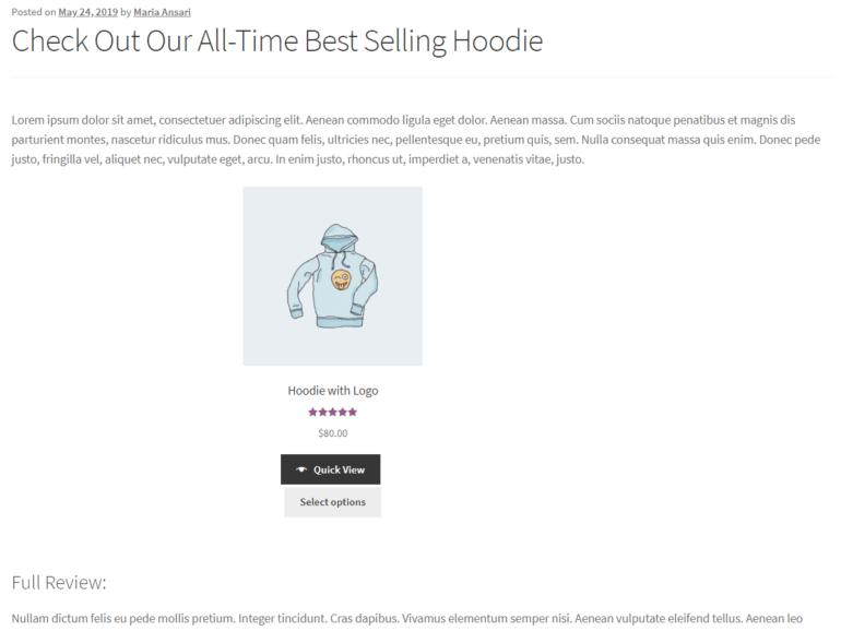 Showcasing a single product using WooCommerce product shortcodes
