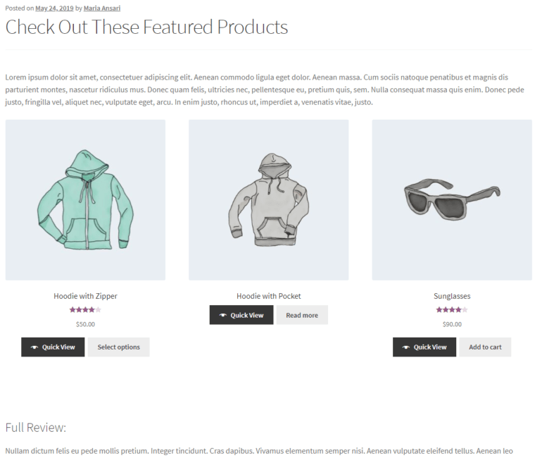 Showcasing featured products using WooCommerce product shortcodes