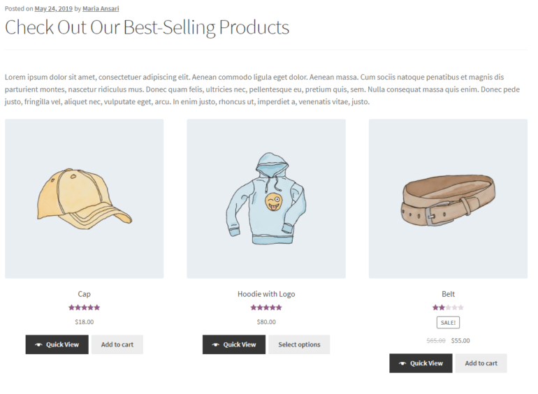Showcasing best-selling products using WooCommerce product shortcodes