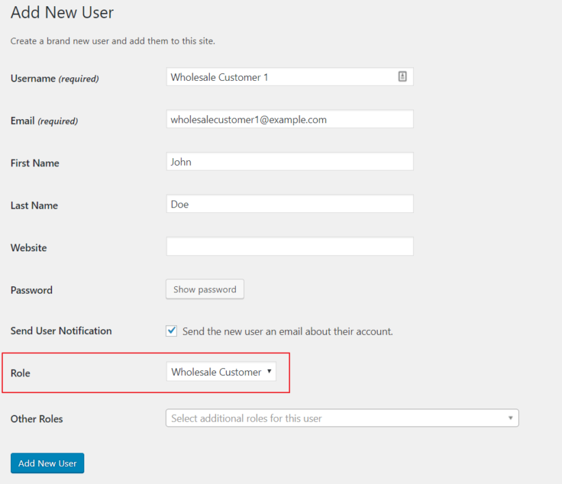 Create a user account for a wholesale customer.